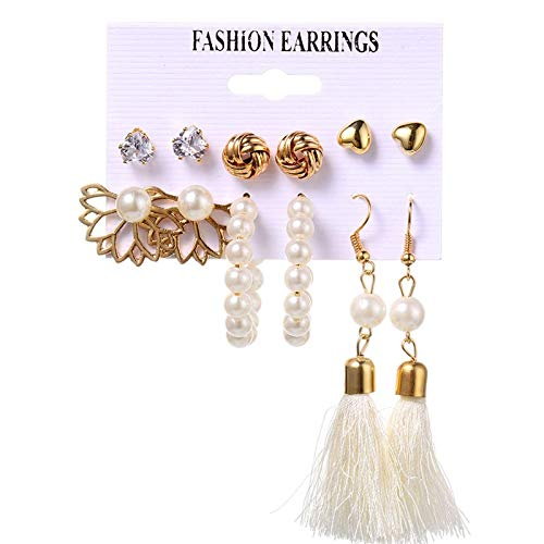 FEARRIN Pendientes Vintage para Mujer, Conjunto de Pendientes Bohemios para Mujer, a la Moda, Borla de Perlas, Pendiente Redondo geométrico, joyería Femenina H8-2425-5