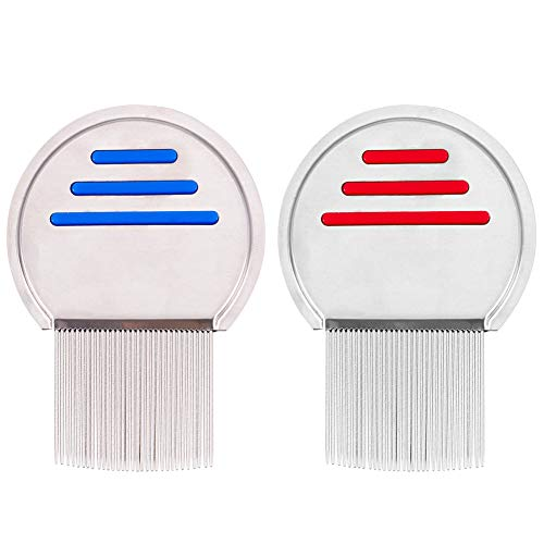 FIDGET PENCIL 2PCS Lice Comb Metal Professional Lice Treatment Reusable Stainless Steel Head Lice Hair Lice Comb Nits Free for Cats and Dogs