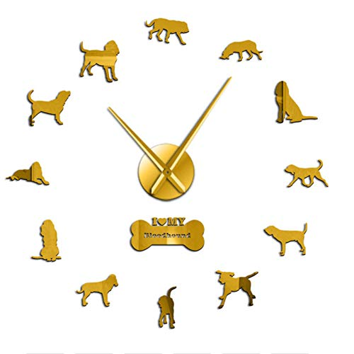 QERTYU Bloodhound Dog Breed Giant 3D-Effekt DIY Wanduhr Tier Haustier Hund Figur Wandaufkleber Uhr für Wohnzimmer Quiet Sweep