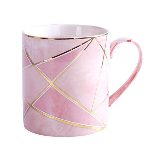WAVEYU Ceramic Mug, Pink Large Coffee Mug Marble with Handle Decoration with Sparky Gold Girly Coffee Tea Cup for Girl Women,14 oz (Pink)