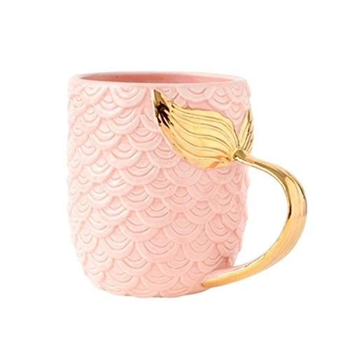 VANUODA Mermaid Coffee Mug - Ceramic Cup with Mermaid Tail Handle - Gift for Christmas Birthday Bridal Engagement Wedding (Pink)