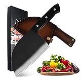 Xizdth Cuchillo de Acero Inoxidable Carnicero 6.5 '' Cuchillo Cubierta de Cuero Caja de Regalo Caja de Regalo China cortadora de Cuchillos de Cortador de Hueso (Color : A 3PCS Set)