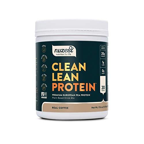 Real Coffee Clean Lean Protein by Nuzest - Premium Vegan Protein Powder, Plant Protein Powder, European Golden Pea Protein, Dairy Free, Gluten Free, GMO Free, Naturally Sweetened, 20 Servings, 1.1 lb