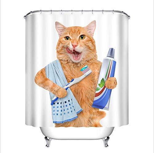 FAIEK Duschvorhang 180X180Cm Badezimmer Polyester Stoff Wasserdicht Schimmelbeständig Und Maschinenwaschbar Badvorhänge Mit 12 Haken, Zahnbürste, Zahnpasta, Katze