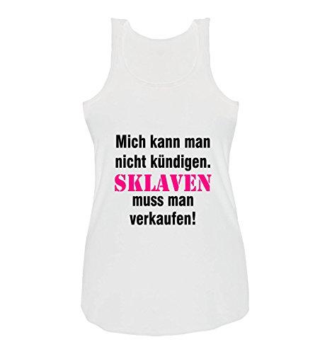 Comedy Shirts - Mich kann man nicht kündigen. Sklaven Damen Tank Top - Weiss/Schwarz-Pink Gr. S