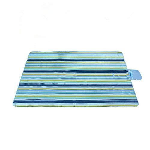 Labellevie 145 x 200 cm Couverture Tapis de pique-nique Nappe Imperméable Pliable Portable Rayures bleues