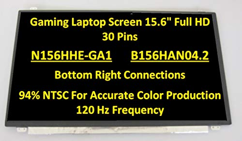 BLISSCOMPUTERS 15.6' 3D 120HZ LED LCD Screen N156HHE-GA1 for MSI GT62 GE63 GS63 edp30pin FHD