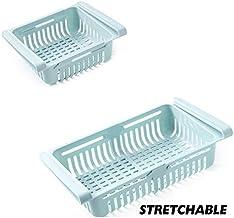 HXSD Adjustable Stretchable Refrigerator Organizer Drawer Basket Refrigerator Pull-Out Drawers Fresh Spacer Layer Storage ...