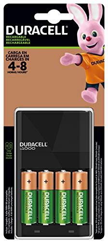 Duracell Cargador Recargable con 4 Pilas Recargables AA Precargadas, Color Negro, Apto para Cargar AA y…