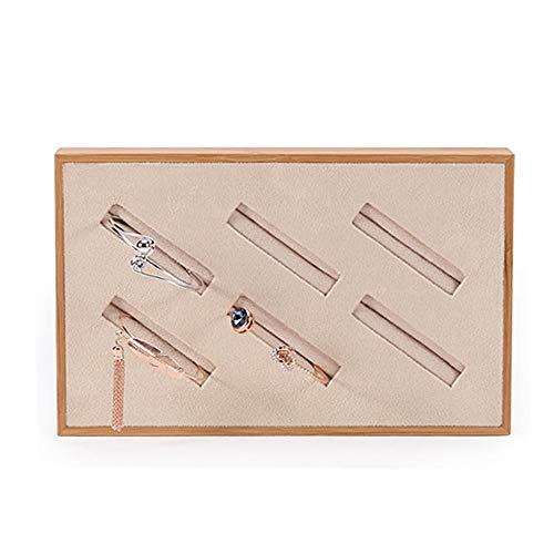 Wagsiyi-cof Schmuckständerhalter Bamboo Velvet Armreif Display Tray Counter Schmuckschatulle (Design : Small, Größe : Bamboo)