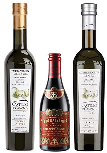 Castillo de Canena Giuseppe Giusti Geschenk-Set - Extra Natives Olivenöl Spanien, kaltgepresst, Balsamessig Modena - Feinschmecker Probierset - 3er Pack (2x 500ml, 1x 250ml)