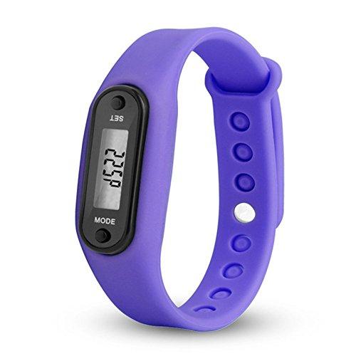 Laag batterijverbruik, silicagel, armbanden, polshorloge, stappenteller, calorieënteller, afstandsmeter, digitaal, LCD (stappen zijn van 0 tot 99,999), Paars