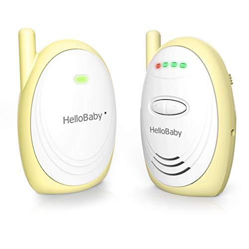 HelloBaby Babyphone HB168 Audio Baby Monitor bis zu 300m mit Digitalem HD-Sound, Geräuschpegelanzeige (Gelb)