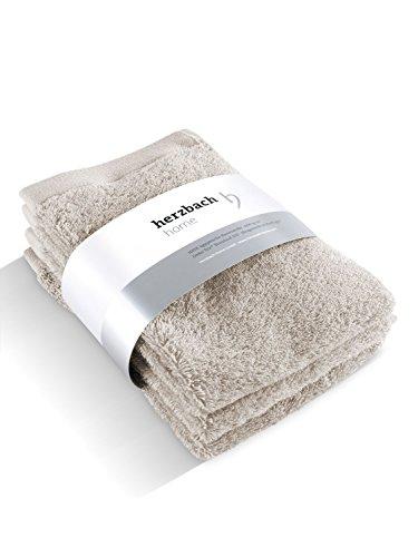 herzbach home 30x50 cm Handtuch Gästetuch 3er-Set Premium Qualität aus ägyptischer Baumwolle (sandgrau)