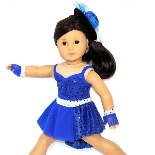 Arianna Fits American Girl 18 Doll - Jazz Vibrant Blue Dance Costume, Glovelettes, Fedora - 18 inch Doll Clothes - Boutique Quality She's Worth it! - Designed in USA Fits 18 inch Dolls