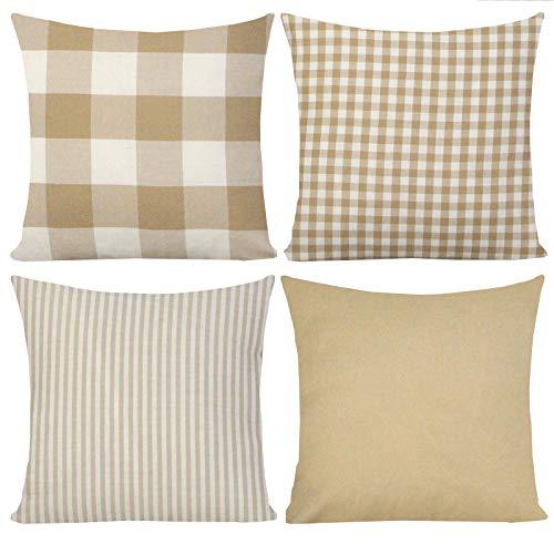 FYJS Un pacchetto di 4 fodere per cuscini quadrati Buffalo federe per la casa adatte per il balcone della camera da letto del divano 45x45cm,Tortora