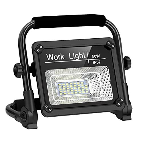 Akku LED Strahler 50W, LED Baustrahler Baustellenlampe 4000 LM 6000K Kaltweiß, Baulampe USB Wiederaufladbar mit 2 Modi, Tragbare LED Arbeitsleuchte für Baustelle, Garage, Camping, Autoreparatur usw