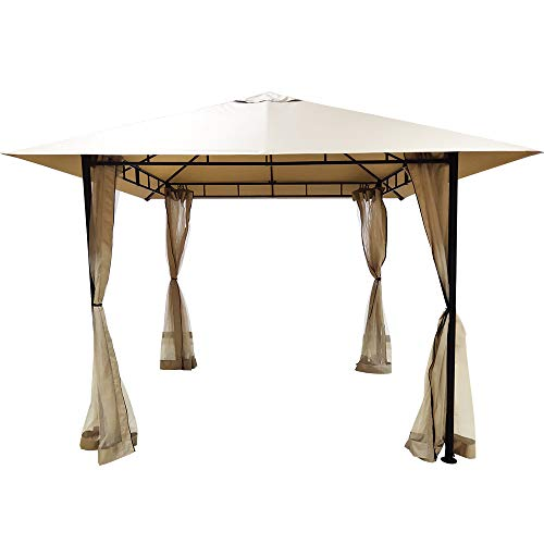 DikaSun Gazebos for Patios Single Roof Gazebo with Curtains, Outdoor Shade Canopy Gazebo with Adjustable Top Corner Tubes (Beige)
