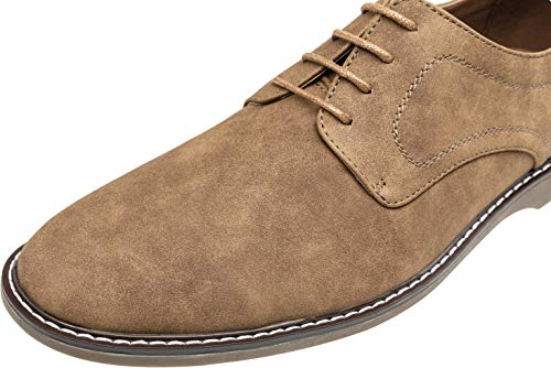 JOUSEN Men's Dress Shoes Plain Toe Suede Oxfords Lightweight Formal Shoes Classic Business Derby Shoes (10,Brown)