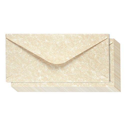 48 Pack Parchment Envelopes - Parchment Paper with Cream Old Fashion Aged Vintage Antique Design - Gum Seal Parchtone Paper Envelopes, 8.75 x 4 inches