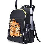 PACEARM Youth Baseball Bat Bag, 2020 Softball Bag & Tball Baseball Equipment Backpack for Boys, Teen, Adults - Hold 2 Bats, 2 Bottles, Helmet, Glove - Vented Design, Fence Hook (Black+Bungee)