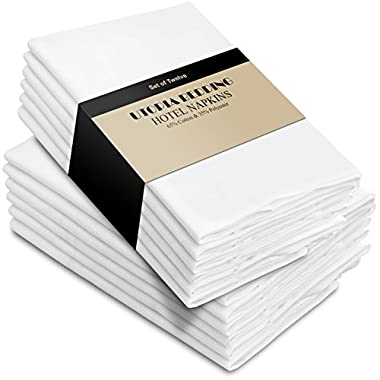 Utopia Bedding Cotton Dinner Napkins - White - 12 Pack (18 inches x 18 inches) - Soft Comfortable - Durable Hotel Quality - Ideal Events Regular Home Use