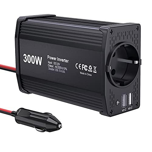 300W KFZ Wechselrichter LEICESTERCN Spannungswandler 12v 230v Stromwandler 12 auf 230 Inverter mit EU Steckdose 2 USB Anschlüsse KFZ Zigarettenanzünder Stecker