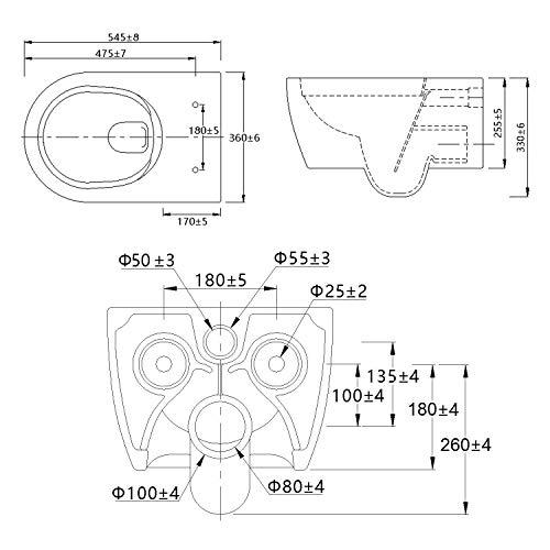 NEG Hänge-WC Uno11 (Tiefspüler) Toilette mit geschlossenem Unterspülrand, Duroplast Soft-Close-Deckel und Nano-Beschichtung - 2