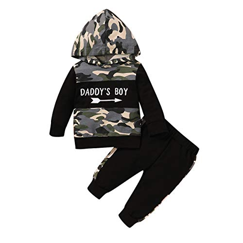 Baby Boys Clothes Toddler Set, Hooded Long Sleeve Plaid Printed Hoodie Sweatshirt Long Camo Pants 2PCS Sweatsuit Outfit(Black camo,3-6 Months)