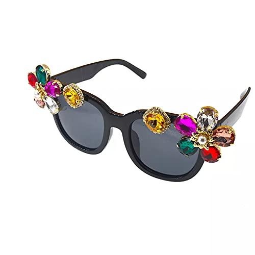 CJJCJJ Gafas de Sol Redondas con Flores para Mujer Ojo de Gato gradiente Cuadrado para Viajes Gafas al Aire Libre Gafas para Fiestas en la Playa