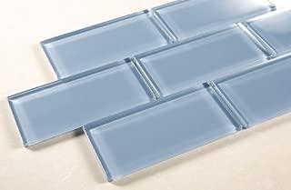 Pacific Ocean - 3x6 Blue Glass Tile Mosaic - Bathroom Tile & Kitchen Backsplash Tile (price per square feet, 8 pieces)