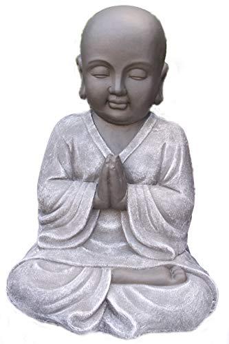 Steinfigur Buddha, 182/1 Gartenfigur Steinguss Basaltgrau Schwarz