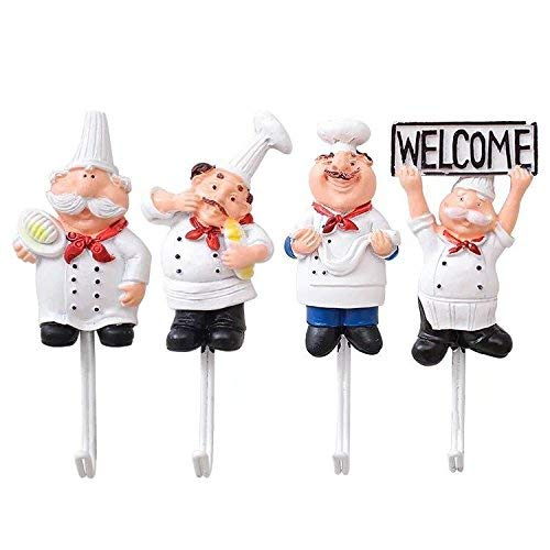 TA BEST Pack of 4 Resin French Chef Figurine Wall Hooks Decorative Cook Wall Mount Rack Hook Hanger(Assorted Style)