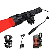 WINDFIRE WF-802 350 Lumens Waterproof Tactical Flashlight 250 Yards Long Range Throwing RED LED Coyote Hog Hunting Torch with Pressure Switch & Barrel Mount & 18650 Rechargeable Battery and Charger