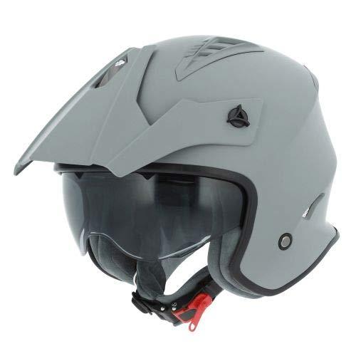 Astone Helmets - Casque de moto MINI CROSS monocolor - Casque jet au look enduro - Casque de moto look cross - casque de ville compact - matt grey L