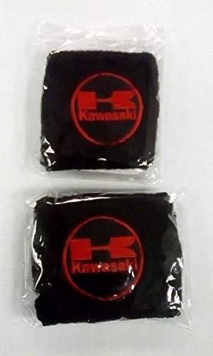 Par Negro Rojo Moto Kawasaki Delantero Trasero Depósito Líquido de Frenos Cubiertas Funda Calcetines