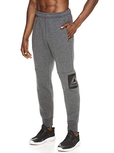 Reebok Men's Jogger Running Pants with Pockets - Athletic Workout Training & Gym Sweatpants - Contender Charcoal Grey Heather, Small