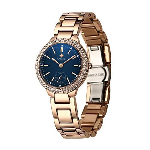 WWOOR Deman Uhren Armbanduhr Mit Diamant Edelstahl Band Quarzuhr für Damen Frauen