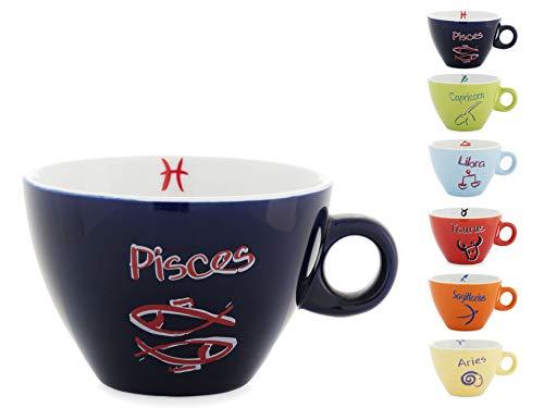 CASA PIU' 6 Tassen für Tee, Kaffee, Schokolade, Milch, Frühstück, 300CC, Tierkreis Dekoration, beständiges Porzellan