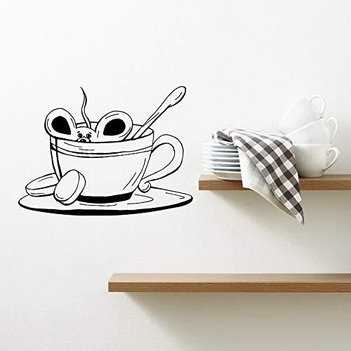 HGFDHG Pegatina de Pared de ratón de Dibujos Animados Taza café té café Cocina Restaurante Tienda de postres decoración de Interiores Vinilo Adhesivo para Ventana Arte
