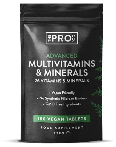 Comrpimidos multivitamínicos de alta resistencia - Multivitaminas veganas aprobadas por PETA - Comprimidos multivitamínicos para hombres y mujeres con 26 vitaminas y minerales activos - The Pro Co.