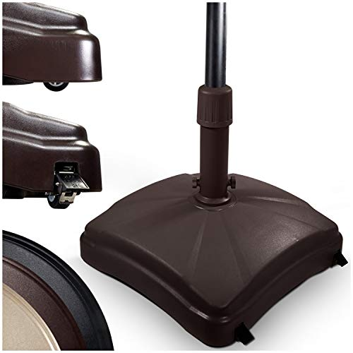 Shademobile Outdoor Umbrella Stand w/ Easy Rolling Base (up to 125lb) Heavy Duty Universal Design for Weighted Commercial Patio & Deck Big Mobile Sun Shade w/ Hidden Wheels | Bronze, Black, Sandstone