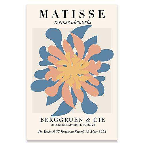 Henri Matisse pintura abstracta ilustración mínima arte de la pared impresión cartel beige hogar sin marco lienzo decorativo pintura E 50x70cm