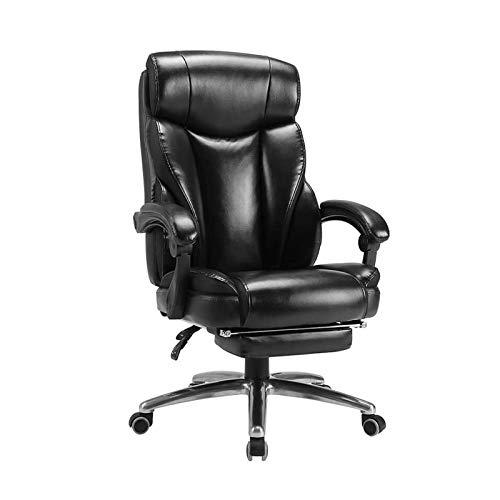 ZXN RTU Relax - Sillas de oficina cómodas, sillas ejecutivas, respaldo alto, ajustable, silla de escritorio para el hogar, silla giratoria de piel sintética con soporte lumbar, reclinable, color negro