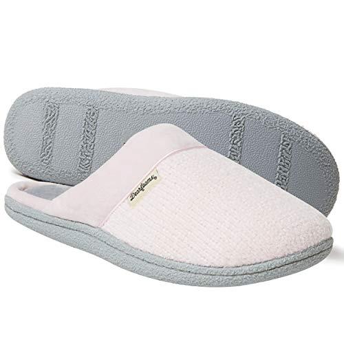 Dearfoams Damen-Chenille-Clog mit gesteppter Socke, Pink (Fresh Pink), Large