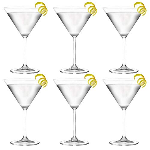Unishop Set 6 Copas de Cocktail de Cristal, Copas para Martini, 26CL Apto para Lavavajillas