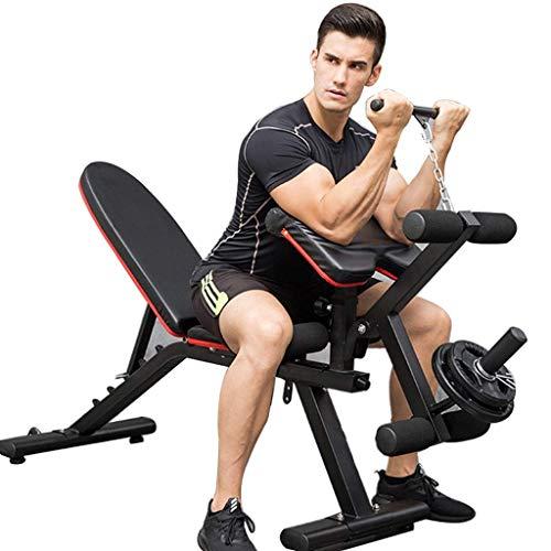 HAOYF Professioneller Fitness-Stuhl, kommerzielle Hantelbank, Indoor-Fitnessgerät, Muskel-Trainingsgerät, Multifunktions-Bankpresse, Hocker, 400 kg (Farbe: Schwarz, Größe: 172 x 52 x 140 cm)