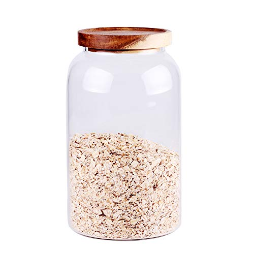 Large Glass Food Canisters, 93 FL OZ(2750ml) Kitchen Serving Stoarge Container with Airtight Bamboo Lids, BPA-Free Cereal Dispenser Jars for Spaghetti Pasta, Powder, Spice, Tea, Coffee(8.8inch high)