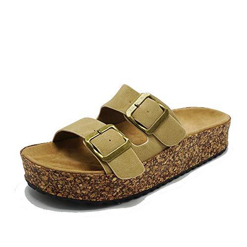 Sandalia de plataforma para mujer con 2 correas ajustables y hebilla de corcho, Beige (Marrón topo), 40 EU