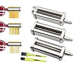 Italdos Set Machine à Pâtes Rouleaux Découpeurs pour KitchenAid Robot 5KSMPRA Pâtissier Rouleau pour Préparation...